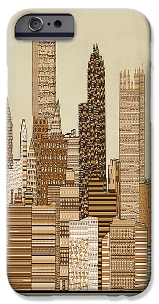 City Scape iPhone Cases - Pittsburgh City Vintage  iPhone Case by Bri Buckley