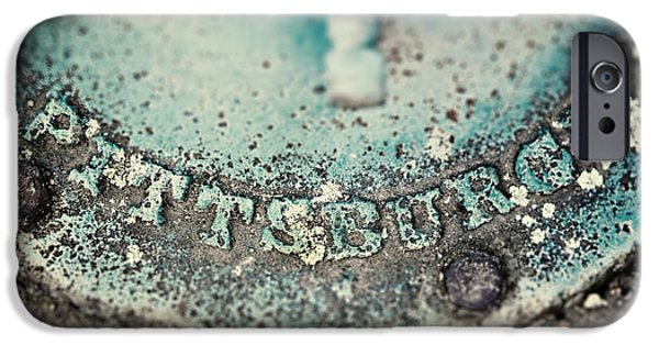 Pittsburgh iPhone Cases - Pittsburgh in Teal Relief on a Vintage Water Pump iPhone Case by Lisa Russo