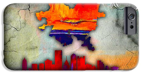 Pittsburgh iPhone Cases - Pittsburgh Map and Skyline Watercolor iPhone Case by Marvin Blaine