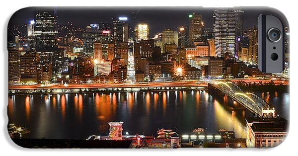 Roberto iPhone Cases - Pittsburgh Over the Monongahela iPhone Case by Frozen in Time Fine Art Photography