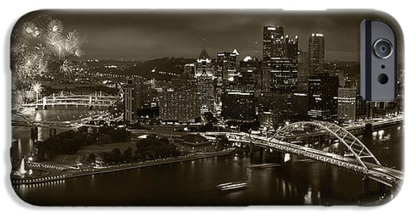 Fireworks Photographs iPhone Cases - Pittsburgh P A  B W iPhone Case by Steve Gadomski