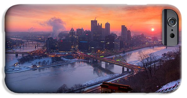 Heinz Field iPhone Cases - Pittsburgh Pa skyline iPhone Case by Emmanuel Panagiotakis