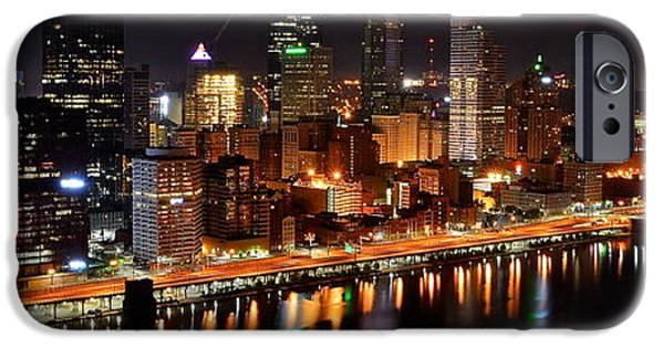 4th July iPhone Cases - Pittsburgh Panorama iPhone Case by Frozen in Time Fine Art Photography