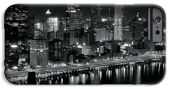 Roberto iPhone Cases - Pittsburgh Panorama in Black and White iPhone Case by Frozen in Time Fine Art Photography