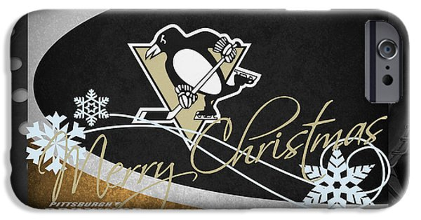 Santa iPhone Cases - Pittsburgh Penguins Christmas iPhone Case by Joe Hamilton