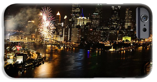 Baseball Stadiums iPhone Cases - Pittsburgh Pennsylvania at Night with Fireworks iPhone Case by Jan Tyler