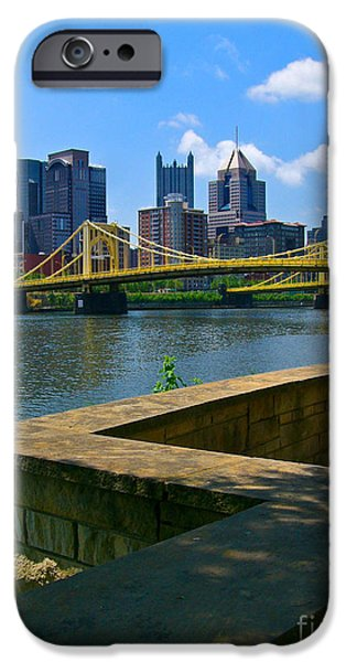 River View iPhone Cases - Pittsburgh Pennsylvania Skyline and Bridges as seen from the North Shore iPhone Case by Amy Cicconi