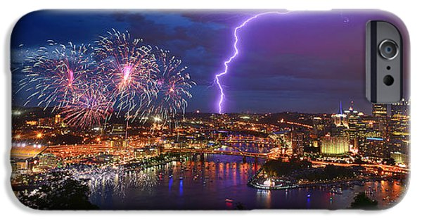 Best Sellers -  - Fireworks iPhone Cases - Pittsburgh Pennsylvania Skyline Fireworks at Night Panorama iPhone Case by Jon Holiday