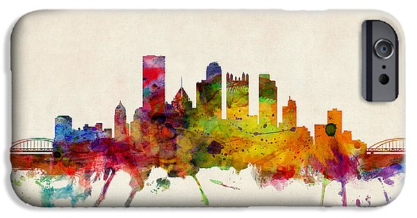 Watercolor iPhone Cases - Pittsburgh Pennsylvania Skyline iPhone Case by Michael Tompsett