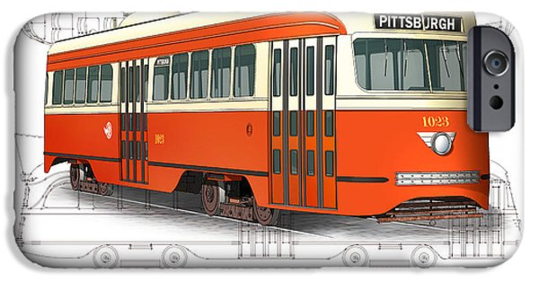 Pcc iPhone Cases - Pittsburgh Railways Company PCC Trolley iPhone Case by Carlos F Peterson