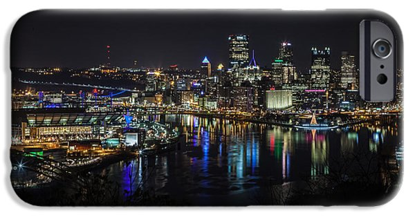 City Scape iPhone Cases - Pittsburgh Skyline at Night iPhone Case by April Reppucci