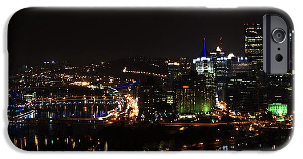 Skyline Pyrography iPhone Cases - Pittsburgh Skyline at night iPhone Case by Ilze Lucero