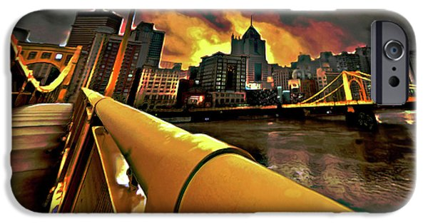 Architecture Digital iPhone Cases - Pittsburgh Skyline iPhone Case by  Fli Art
