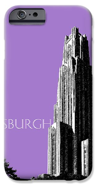 Pen And Ink iPhone Cases - Pittsburgh Skyline Cathedral of Learning - Violet iPhone Case by DB Artist