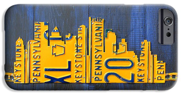 Skyscraper Mixed Media iPhone Cases - Pittsburgh Skyline License Plate Art iPhone Case by Design Turnpike