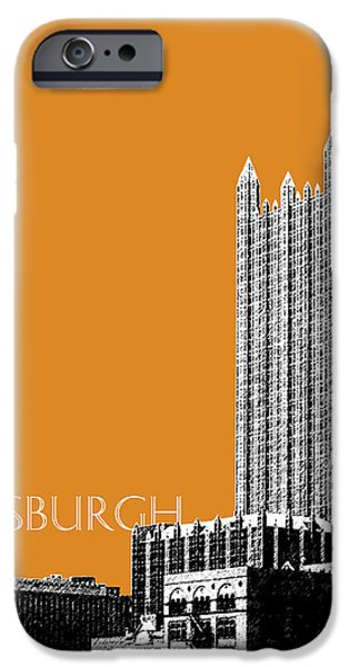 Pen And Ink iPhone Cases - Pittsburgh Skyline PPG Building - Dark Orange iPhone Case by DB Artist