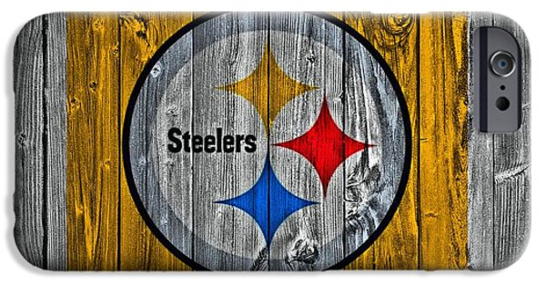 Man Cave Mixed Media iPhone Cases - Pittsburgh Steelers Barn Door iPhone Case by Dan Sproul