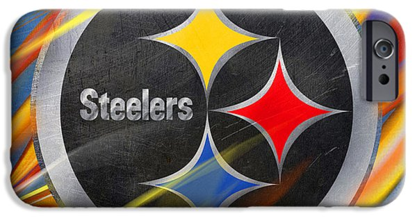 Decorating Mixed Media iPhone Cases - Pittsburgh Steelers Football iPhone Case by Tony Rubino