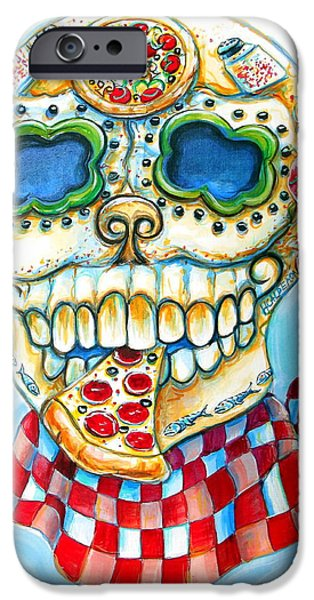 Chicago Paintings iPhone Cases - Pizza Sugar Skull iPhone Case by Heather Calderon