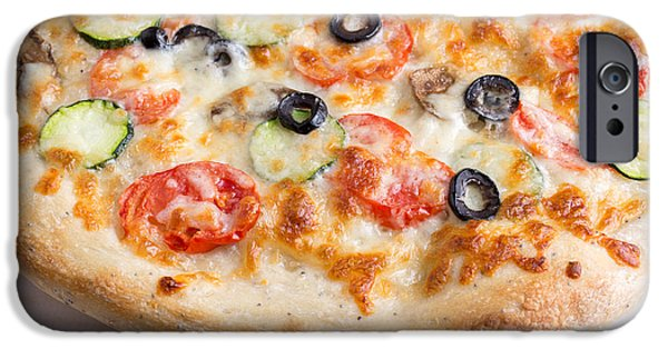 Squash iPhone Cases - Pizza with cheese and vegetables iPhone Case by Edward Fielding