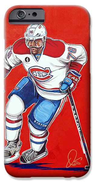Hockey Drawings iPhone Cases - P.K. Subban of the Montreal Canadiens  iPhone Case by Dave Olsen