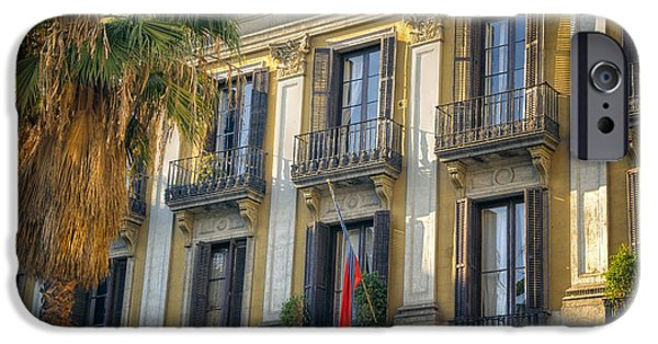 Balcony iPhone Cases - Placa Reial Balconies iPhone Case by Joan Carroll