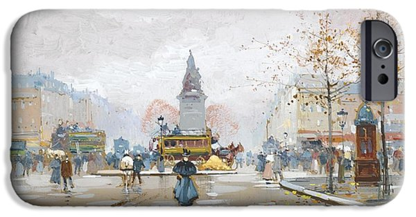 Eugene Galien-laloue iPhone Cases - Place Clichy iPhone Case by Celestial Images