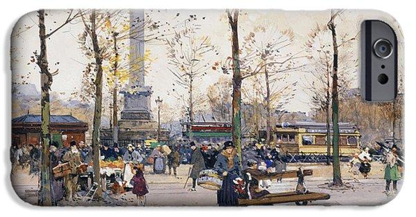 Lieven iPhone Cases - Place de la Bastille Paris iPhone Case by Eugene Galien-Laloue
