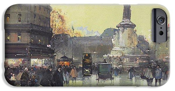 Place iPhone Cases - Place de la Republique iPhone Case by Eugene Galien-Laloue