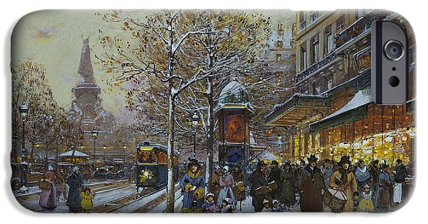 Old-fashioned iPhone Cases - Place de la Republique Paris iPhone Case by Eugene Galien-Laloue