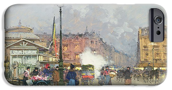 Gas Paintings iPhone Cases - Place de lOpera Paris iPhone Case by Eugene Galien-Laloue