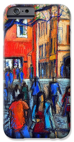 Pastel iPhone Cases - Place Du Petit College In Lyon iPhone Case by Mona Edulesco