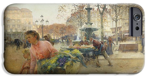 Jacques Lieven iPhone Cases - Place du Theatre Francais Paris iPhone Case by Eugene Galien-Laloue