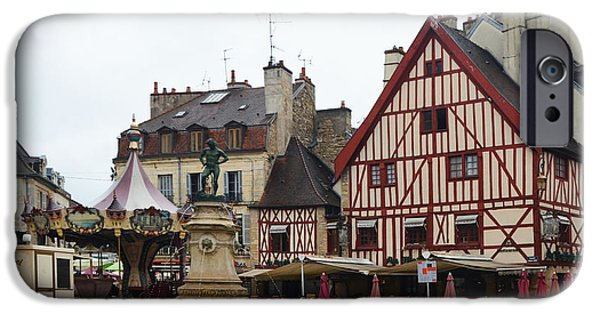 Table Wine iPhone Cases - Place Francois Rude in Dijon France iPhone Case by Carla Parris