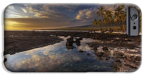 Big Island iPhone Cases - Place of Refuge Sunset Reflection iPhone Case by Mike Reid