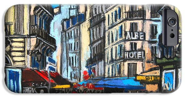 Balcony iPhone Cases - Place Saint-michel In Paris iPhone Case by Mona Edulesco