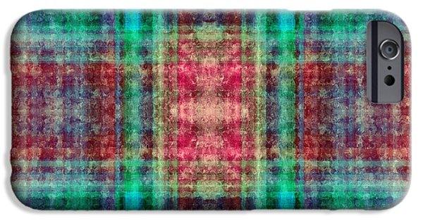 Abstract Digital Art iPhone Cases - Plaid In Red And Green Square iPhone Case by Andee Design