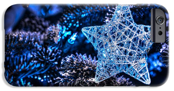Star Of Bethlehem iPhone Cases - Blue Christmas iPhone Case by Shelley Neff