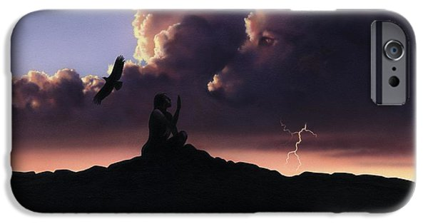 Storms Paintings iPhone Cases - Plains Indian Guardian Spirit iPhone Case by Rob Wood