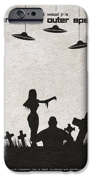 Haunted iPhone Cases - Plan 9 from Outer Space iPhone Case by Ayse Deniz