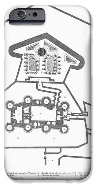 PLAN OF THE BASTILLE iPhone Case by Granger