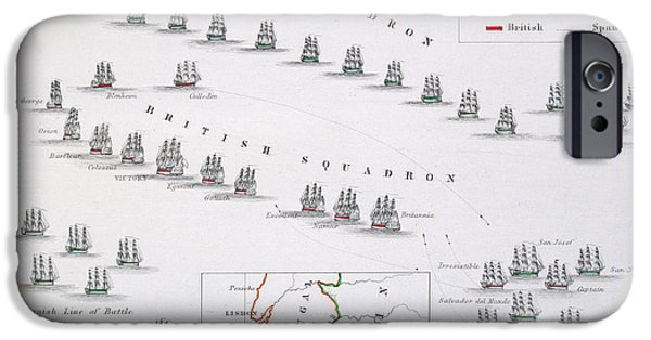 Geographic iPhone Cases - Plan of the Battle of Cape St. Vincent iPhone Case by Alexander Keith Johnston