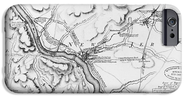 Plans iPhone Cases - Plan of the Operations of General Washington Against the Kings Troops in New Jersey iPhone Case by William Faden