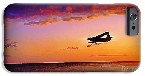 Malone iPhone Cases - Plane Pass at Sunset iPhone Case by John Malone