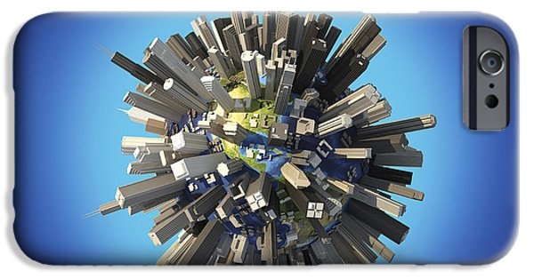 Built Structure Digital Art iPhone Cases - Planet Earth Covered By Huge iPhone Case by Leonello Calvetti