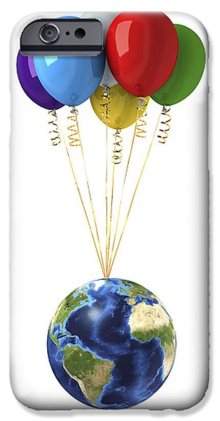 Freedom Party iPhone Cases - Planet Earth Lifted By A Bunch iPhone Case by Leonello Calvetti
