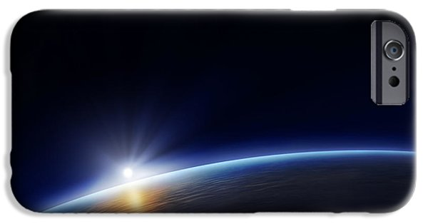 World System iPhone Cases - Planet earth with rising sun iPhone Case by Johan Swanepoel