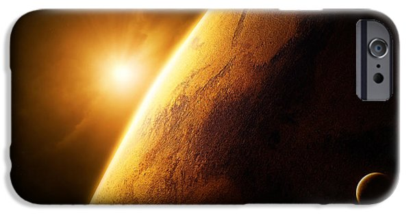 Abstract Landscape Digital Art iPhone Cases - Planet Mars close-up with sunrise iPhone Case by Johan Swanepoel