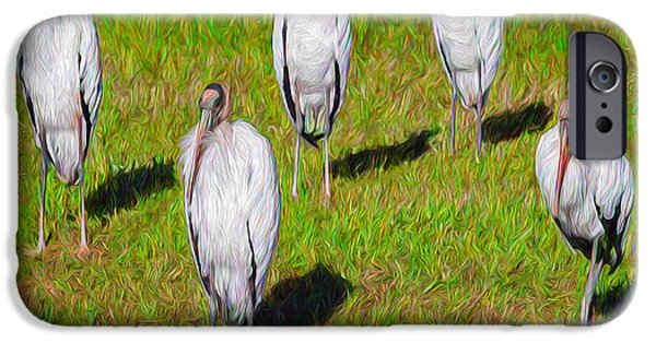 Abstract Digital Photographs iPhone Cases - Planet of the Woodstorks iPhone Case by John Bailey