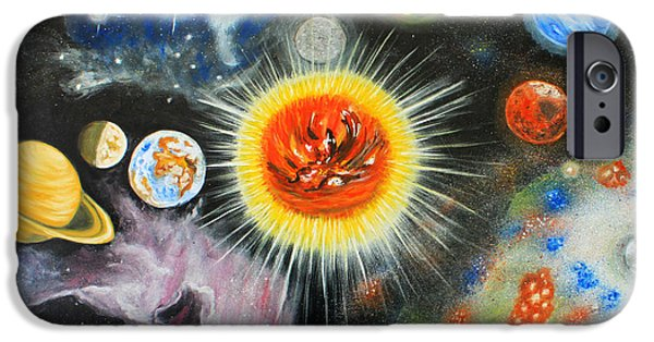 Planets Paintings iPhone Cases - Planets and nebulae in a day iPhone Case by Augusta Stylianou